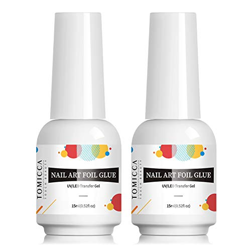 TOMICCA Transfer Nagelfolien Kleber, 2 * 15ml Transfer Foil Gel Nägel Set, Nail Art Foil Glue