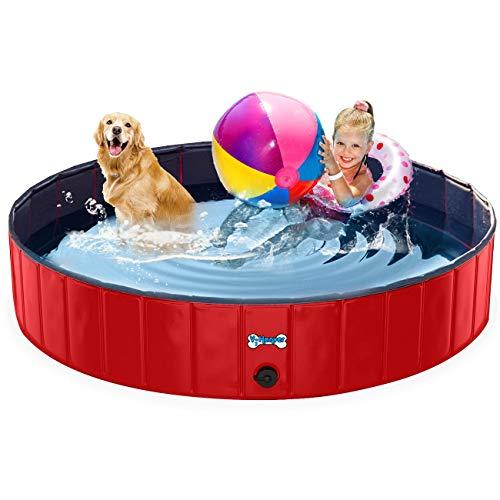V-HANVER Foldable Dog Pool Hard Plastic Collapsible Pet Bath Tub