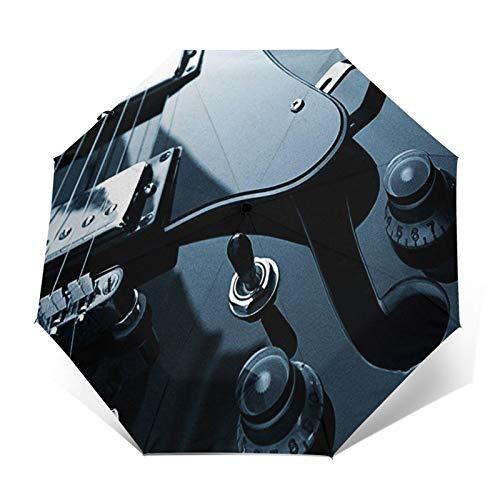 Paraguas Plegable Automático Impermeable Guitarra eléctrica Negra, Paraguas De Viaje Compacto A...