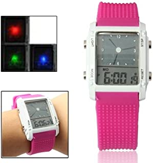 Songlin@yuan  Dual LCD Display Colorful LED Digital Watch/Practical Chronograph Sports Watch, Both Men and Women Fashion (Color : Magenta)