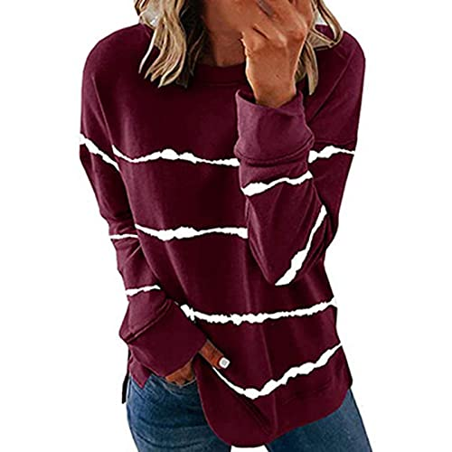 Crewneck Pullover for Women Long Sleeve Sweatshirt Stripe Print Blouse Ladies Loose Casual Tops