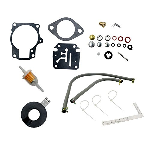 DEF Carburetor Rebuild Kit for Evinrude Johnson 398729 396701 392061 Mallory 9-37107 Sierra 18-7222 18-7042 18 20 25 28 30 35 40 45 48 50 55 60 65 70 75 HP Outboard Motors with Float (1 package)