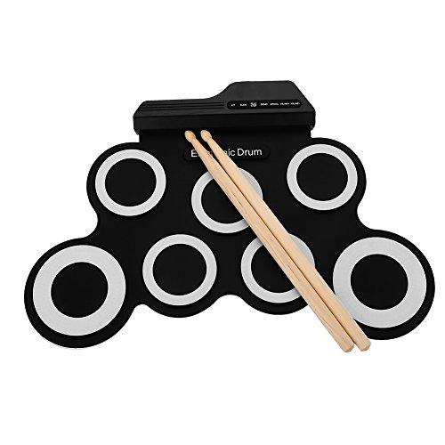 Elektronisches Schlagzeug, tragbares Aufroll-Übungs-Schlagzeug-Pad mit Kopfhöreranschluss USB-Kabel-Pedal-Stick für Anfänger und Kinder/Weihnachtsgeschenk/Unterhaltung
