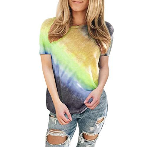DREAMING-Jersey de Primavera y Verano para Mujer, Camiseta de algodón Informal, Camiseta de Manga Corta Suelta con Cuello Redondo y Degradado de Tinte Anudado S