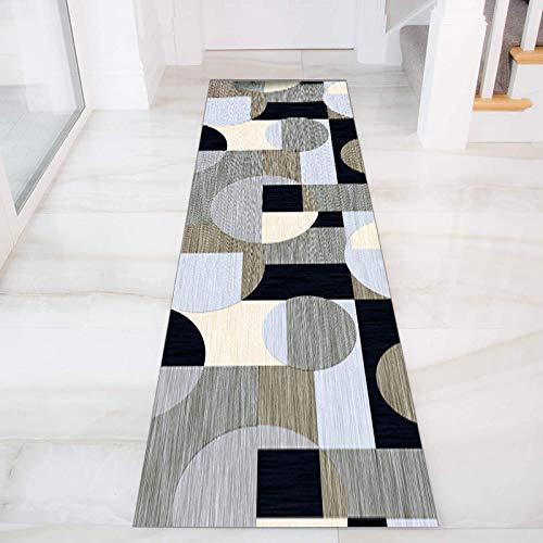 GJIF Geometria Tappeto Corridoio Passatoia, Design Moderno Morbido Ingresso Tappeti for Cucina Scala Sala, Larghezza 60cm/ 80cm/ 90cm/ 100cm/ 120cm(Size:60x200cm)