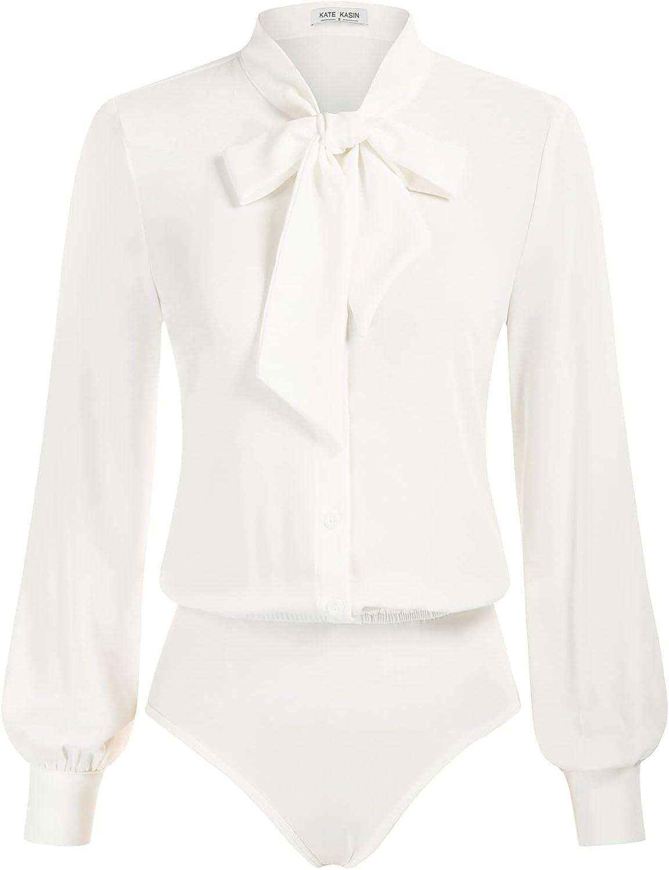 Kate Kasin Women Bow Tie Neck Office Blouse Button Down Long Sleeve Bodysuit Blouse Top