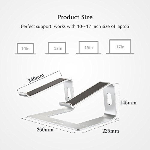 Laptop Stand Compatible for MacBook Pro/Air, Boyata Aluminum Stand Holder Ergonomic Ventilated Desktop Stand Design for All 10-17 Inches Apple Notebooks, Samsung, Acer, HP, Dell Laptop-Sliver