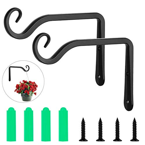 Wisolt Hanging Plants Bracket, 2 Pack Home & Garden Retro Iron Hanging Hooks Wall with 4 Mounting Screw for Bird Feeder, Flower Pots Baskets, Wind Chimes, Lantern, Lawn Light, Wind Spinners