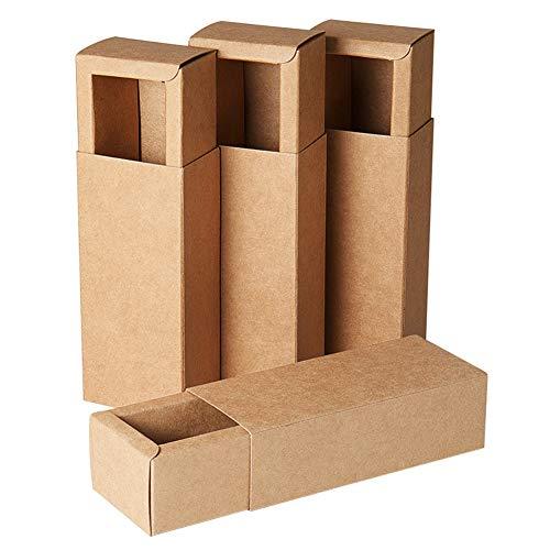 BENECREAT 20 Pack Scatole di Cartone Kraft 12.3x5.4x3.5cm Scatole Regalo di Festa Pacchetto Bomboniere, Matrimonio, Natale - Marrone