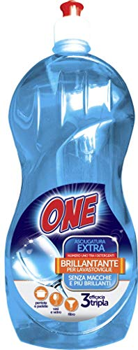 ONE Brillo para lavavajillas | Elimina las manchas y hace que la vajilla sea más brillante | Hace brillar el cristal y los vasos | Eficacia triple | Limpieza de bajo impacto ambiental.