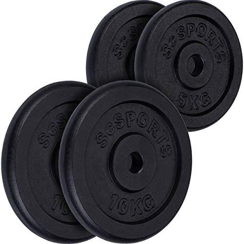 ScSPORTS 30 kg Hantelscheiben-Set 2 x 5 kg + 2 x 10 kg Gusseisen Gewichte 30/31 mm Bohrung