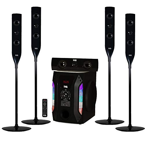 "Acoustic Audio AAT1004 Bluetooth Tower 5.1 Home Theater Speaker System with 8"" Powered Subwoofer"