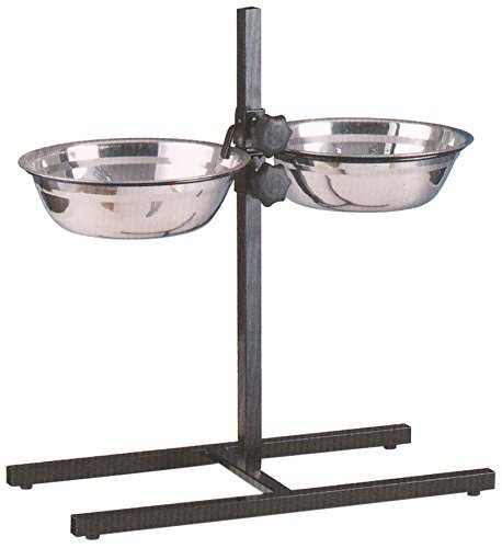 Mcage Large Adjustable Wrought Iron Stainless Steel Double Diner Food Water Bowls, 5-Quart