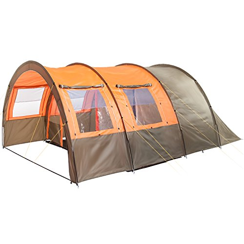 Skandika Kemi family Tunnel Tent with Moveable Front Wall, 2 Sleeping Cabins and a 3000 mm Water Column, Olive/Orange, 4 Person/Man