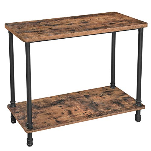 VASAGLE URBENCE Console Table, Sofa Table with Iron Pipe Legs and 1.2 Inch Thick Table Top, Easy Assembly, Accent Table for Hallway, Entryway, Living Room, Rustic Brown