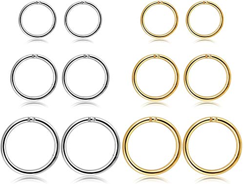 LLYX 12pcs 16G de acero quirúrgico con bisagras Clicker del sector extremo del aro de los anillos de la hélice cartílago Daith El trago durmiente pendientes perforación del cuerpo de los 8-12MM Mejora