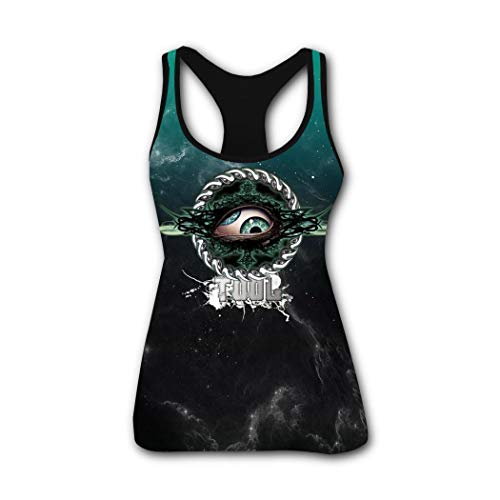 Tool-Eye-Band Women's Sleeveless Casual Tank Tops 3D Printed Basic Shirts Tees Black