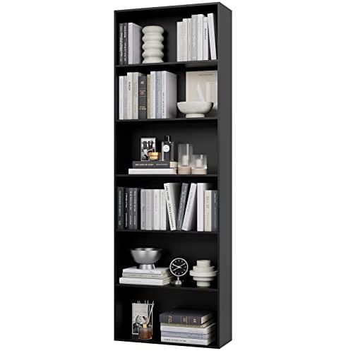 Mueble Estantería Salón Librería de 6 Cubos Estantería para Libros Estanteía Madera para Salón Oficina Estudio Negro 60x23.5x180cm