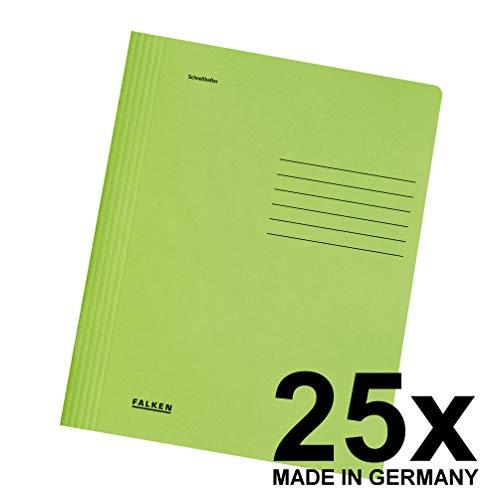 Original Falken 25er Pack Schnellhefter Intensivfarben. Made in Germany. Aus Recycling-Karton für DIN A4 kaufmännische und Behördenheftung grün Blauer Engel Hefter ideal für Büro und Schule