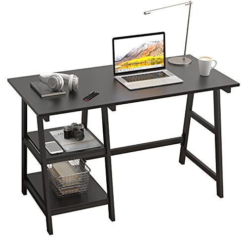 SogesPower Escritorio para ordenador, oficina, escritorio, estudio, ordenador portátil, con marco de acero y 2 estantes para mucho espacio, 120 x 60 x 75 cm, color negro
