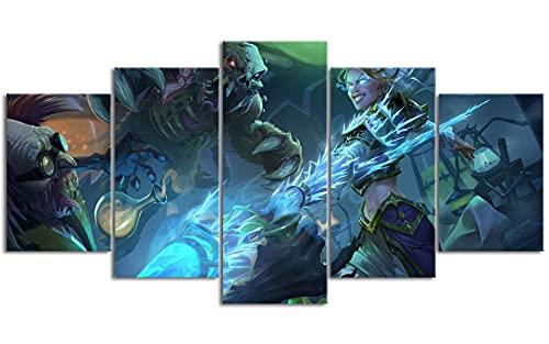 YLAXX World of Warcraft Print Wallpaper 5 Pinturas en Lienzo Desplazamiento Lienzo Restaurante decoración Pintura al óleo impresión 100x50 cm Pintura sin Marco