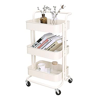 3-Tier Metal Mesh Storage Utility Cart with Brake Caster Wheels, Rolling Cart with Removable Handle, Beige