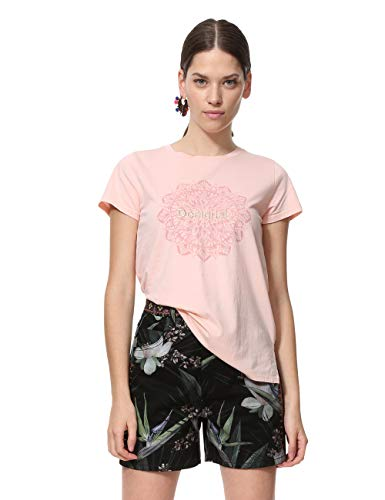 Desigual Damen Short Sleeve Manchester Woman PINK T-Shirt, Rosa (Rosa Carnal 3055), Medium