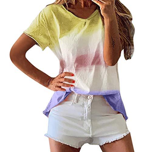 TAMALLU Damen T-Shirt Modische Modernrn Frauen Tee Gradient Kurzarm Bluse(Gelb,3XL)