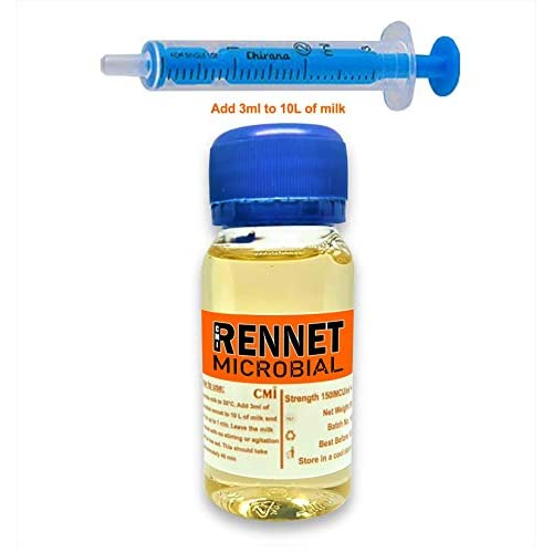 Rennet Ideal, caglio microbico liquido, coagulante, 50ml. Aggiungere 2ml per 10 L di latte