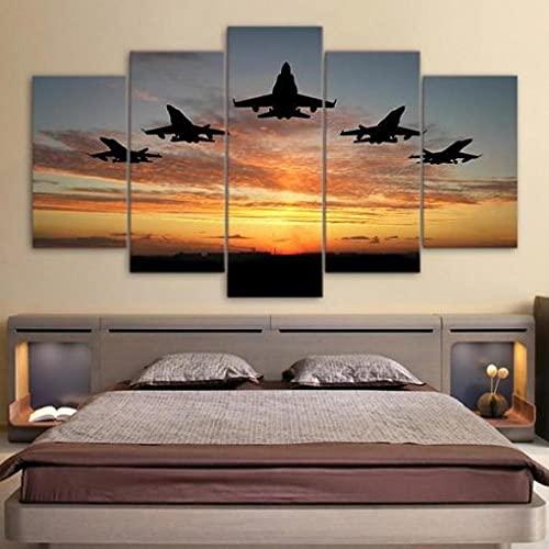 BDFDF 5 Piezas Cuadro En Lienzo 5 Lienzos Impresión Cuadros Aviones Jet Militar Volar Atardecer 5 Murales Decorativos Pared XXL Decoracion para Salón Dormitorio Pared Listo para Colgar Marco 150X80Cm