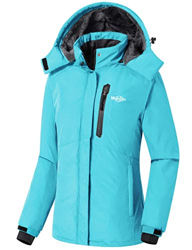 Wantdo Damen Wasserdicht Skijacke Fleece Winter Parka Winddicht Schneemantel - Blau - Large