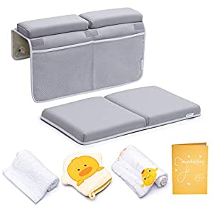 Bath Kneeler and Elbow Rest Pad, 1.75 inch Extra Thick Baby Bath Kneeling Pad and Elbow Pad for Bathtub. Bath Tub Elbow Pad with Infant Toy and Baby Accessories Organizer, Grey