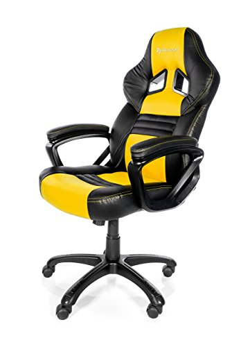 Arozzi - Monza sedia da Gaming, Nero Giallo, 50 x 55 x 130