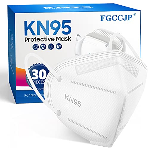KN95 Face Mask 30pcs Disposable Face Masks Individual Packed Safety 5 Layers Breathable Cup Dust Masks Filtration95% for Adults Men Women(White)