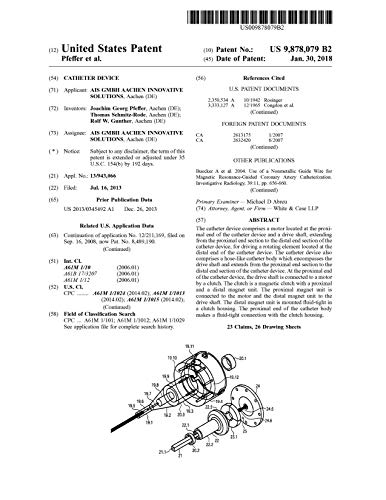 Catheter device: United States Patent 9878079 (English Edition)