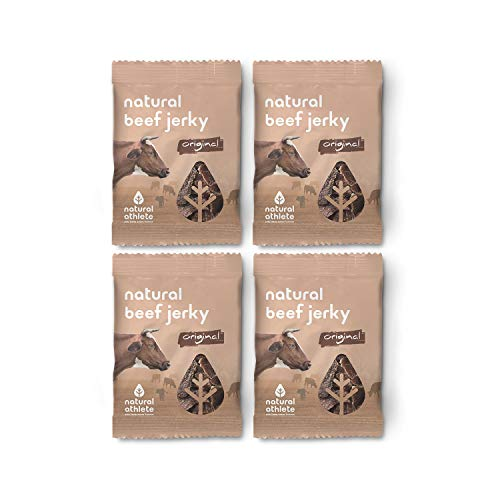 NATRULY Beef Jerky Original, Carne Seca 100{6f56023b20e84eb4729fcf98fc3b1938255fcaf2f4c2b43396395e09aa71c9d4} Vacuno, Sin Gluten, Sin Lactosa, Sin Azúcar, Sin Aditivos Artificiales -Pack 4x25g (Natural AThlete)