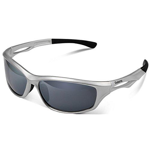 Duduma Polarized Sports Sunglasses for Men Women Baseball Running Cycling Fishing Driving Golf Softball Hiking TR90 Unbreakable Frame (silver/black)