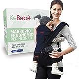 KeBebè Marsupio Neonati Ergonomico 0 36 Mesi Porta Bambino Con Sedile Puro Cotone Leggero...