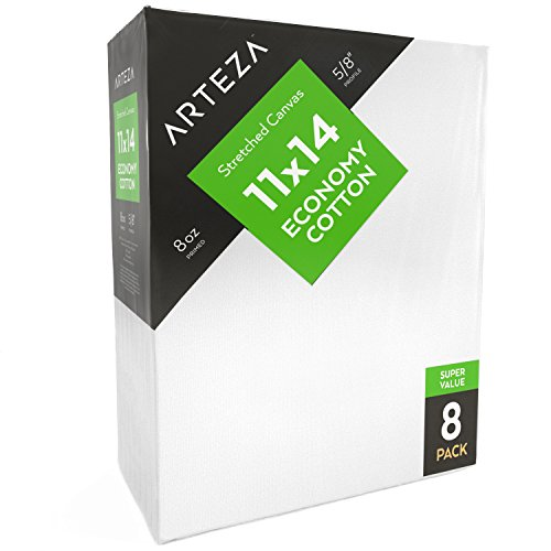 """Arteza 11x14"""" Stretched White Blank Canvas, Bulk Pack of 8, Primed, 100% Cotton for Painting, Acrylic Pouring, Oil Paint & Wet Art Media (Classic - 8 Pack)"""