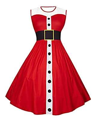 UNIFACO Women's Plus Size Christmas Halloween Dresses Sleeveless Round Neck Print Flared Cocktail Party Dress with Lace