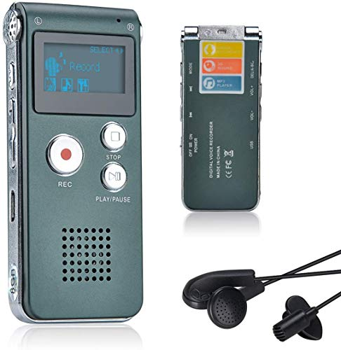 Lychee 8GB Voice Recorder USB Rechargeable Dictaphone LCD Recorder with Multifunctional Digital Audio and MP3 Player