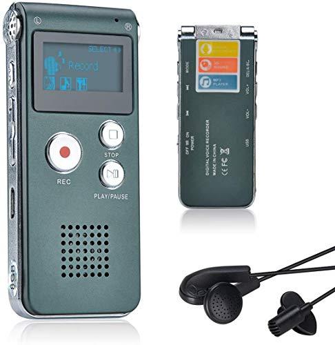 Lychee 8GB LCD Bildschirm Digitales Diktiergerät Aufnahmegerät Sprachaufnahme Audiorekorder Voice Recorder für Studium Konferenzen und Interviews MP3 Player (Grau)