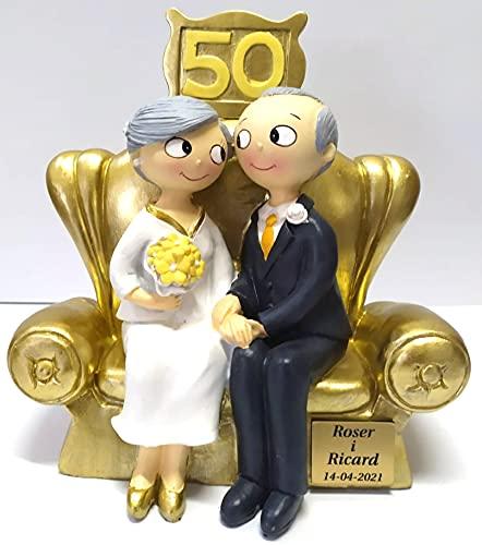 Figura de Pastel Pop&Fun Bodas de Oro (50 aniversario) PERSONALIZADA CON PLACA...