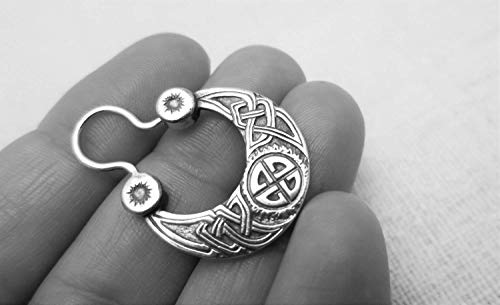 Celtic knot viking nordic hoop earring for men sterling silver FREE SHIPPING handcrafted sun male earring