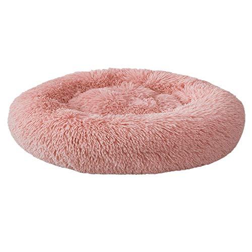 Festnight Haustierbett, Katzenbett Plüsch Haustierbett, Rundes Plüsch-Katzenbett-Hundehaus-Welpen-Kissen-tragbare warme weiche Bequeme Hundehütte 40/50/60/70/80/100CM (XXXL, Pink)