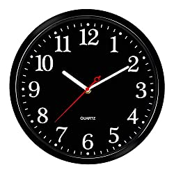 Wall Clock 12 Inch/Round Black Dial/Modern Design Wall Clock/Easy to Read/Metal Hands/Arabic White Numerals/Flat Glass Cover/Battery Operated/Quality Quartz/Silent Non Ticking/Home/Office