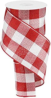 Woven Check Wired Edge Ribbon - 10 Yards (Red, White, 4