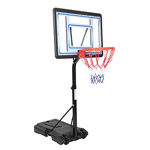 """FCH Poolside Basketball Hoop, Adjustable Height 45""""-53"""" Swimming Pool Basketball System with 32"""" X 23"""" PVC Backbord 2 Basketball Nets for Both Kids and Adults (Upgraded)"""