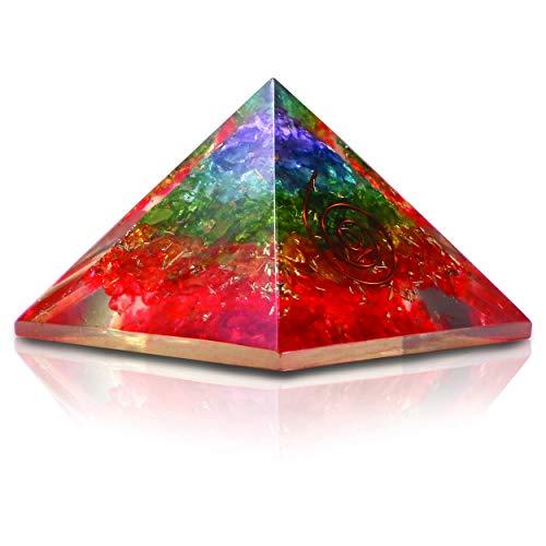 Preisvergleich Produktbild Cosynee Reiki Pyramiden-Set,  EMF-Schutz,  Meditation,  Yoga,  Kristall,  Quarz,  Energiepunkte,  7 Chakra-Kristalle,  Orgon-Pyramiden-Set regenbogenfarben