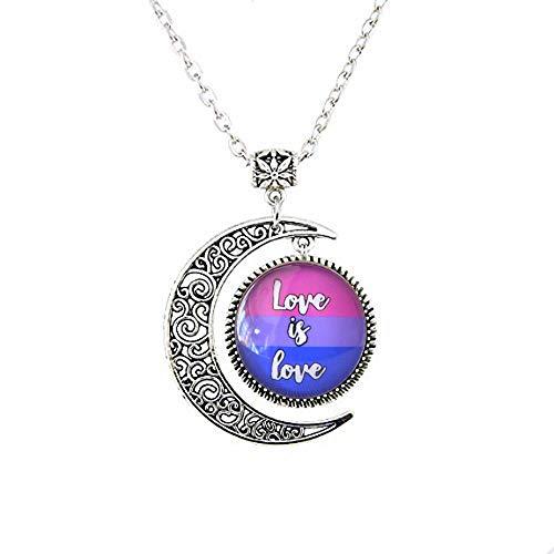 Love is Love Bisexueller Pride Moon Halskette, Glaskuppel, Mond-Halskette, LGBT-Geschenk, Text-Kunst-Charm, Schmuck, Schwulen-Sexuality-Schmuck